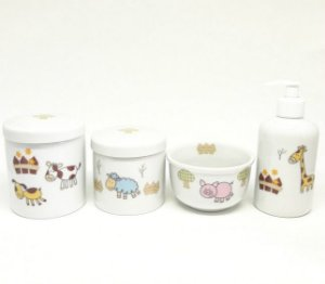 Kit Higiene Bebê Porcelana |Fazendinha|Safari|Bichinhos| 4 peças