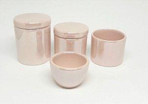 LIQUIDAÇÃO Kit Higiene Bebê Cerâmica |Rosa Claro Perolizado| 4 peças