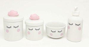 Kit Higiene Bebê Porcelana | Olhinhos Cílios Nuvem| Várias Cores