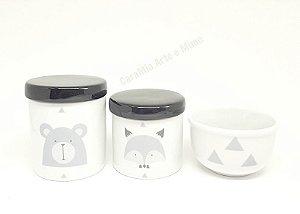Kit Higiene Bebê Porcelana Escandinavo |Urso e Raposa | Geométrico