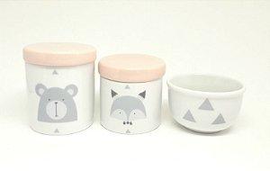 Kit Higiene Bebê Porcelana Escandinavo Urso e Raposa | Tampas Coloridas | Escolha A Sua!