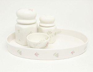 Promoção - Kit Higiene Bebê Cerâmica Floral Rosa com Bandeja Oval Cerâmica