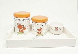 Kit Higiene Bebê Cerâmica Raposa | Tampas Laranjas com Bandeja Cerâmica Retangular