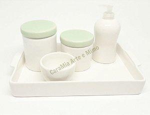 Kit Higiene Bebê em Cerâmica com Bandeja Retangular| Várias cores de tampas| Escolha a sua!
