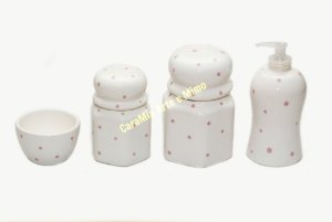 Kit Higiene Bebê Cerâmica| Petit Poá Rosa | 4 Peças