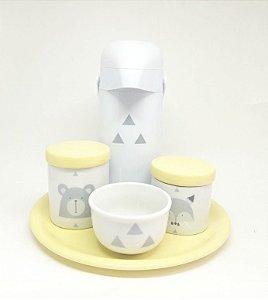 Kit Higiene Bebê Porcelana Escandinavo com Bandeja e Garrafa Decorada  