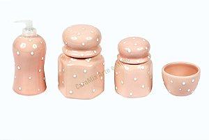 Kit Higiene Bebê Sextavado Cerâmica|Rosa Antigo (envelhecido) com Poá Branco |4 peças