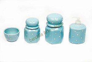 Kit Higiene Bebê Cerâmica | Azul Antigo e Poá| 4 Peças |