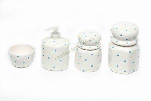 Kit Higiene Bebê Poá Azulzinho em Cerâmica| 4 peças|