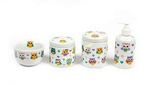 Kit Higiene Bebê Porcelana Corujinhas  4 peças