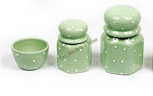 LIQUIDAÇÃO Kit Higiene Bebê Cerâmica - Verde com Poá Branco 3 peças
