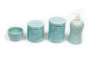 Kit Higiene Bebê em Cerâmica Azul Antigo e Poazinho