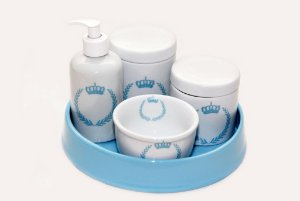 Kit Higiene Bebê Porcelana | Coroa Brasão Azul + Bandeja Redonda Lisa Azul Cerâmica| 5 Peças |