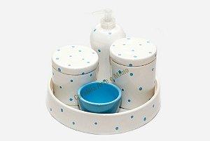 Kit Higiene Bebê Cerâmica | Branquinho com Poá Azul + Bandeja Redonda  | 5 Peças |