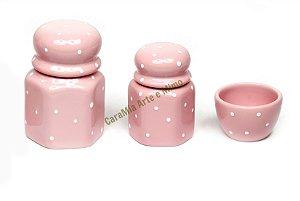 LIQUIDAÇÃO Kit Higiene Bebê Cerâmica | Rosa Bebê com Poá | 3 Peças |