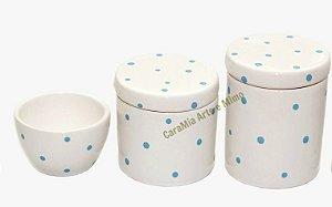 LIQUIDAÇÃO Kit Higiene Bebê Cerâmica | Poá Azulzinho| 3 Peças |