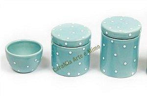 Kit Higiene Bebê em Cerâmica | Azul Antigo| 3 peças