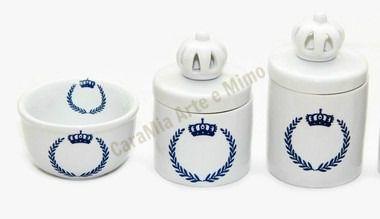 Kit Higiene Bebê |Coroa Marinho Brasão com Coroas Brancas| 3 Peças