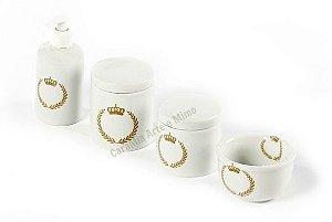 Kit Higiene Bebê Porcelana | Coroa Dourada Brasão| 4 Peças