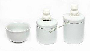 Kit Higiene Bebê Porcelana - Ursinho Branco  - 3 peças