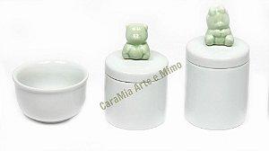 Kit Higiene Bebê em Porcelana| Ursinho Verde | 3 Peças |