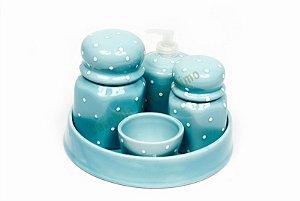 Kit Higiene Bebê | Azul Antigo com Poá + Bandeja Redonda | 5 Peças |