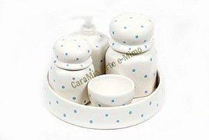 Kit Higiene Bebê em Cerâmica| Branquinho com Poá Azul + Bandeja Redonda  | 5 Peças |