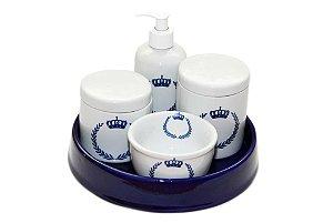 Kit Higiene Bebê Porcelana |Coroa Brasão Marinho + Bandeja Redonda Lisa | 5 Peças |