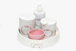 Kit Higiene Bebê Porcelana| Coroa Brasão Rosa + Bandeja Redonda Cerâmica Off-white| 5 Peças |
