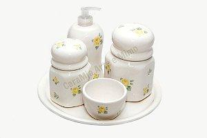 Kit Higiene Bebê Cerâmica| Rosas Amarelas + Bandeja Redonda Lisa | 5 Peças |
