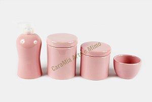 Kit Higiene Bebê em Cerâmica| 4 peças| Rosa Bebê Liso