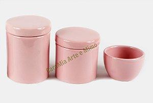 LIQUIDAÇÃO Kit Higiene Bebê Cerâmica | 3 peças| Rosa Bebê Liso