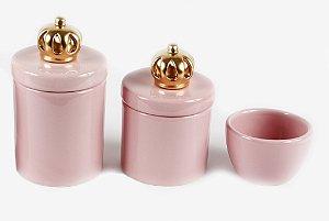 Kit Higiene Bebê Cerâmica | 3 peças| Aplique de Coroas Douradas|