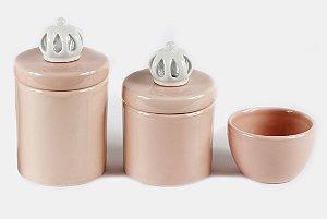 Kit Higiene Bebê Cerâmica | 3 peças| Aplique de Coroas Branquinhas