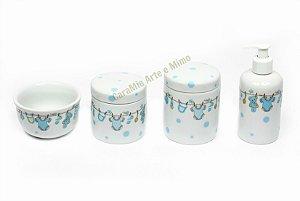 Kit Higiene Bebê em Porcelana | 4 peças| Varalzinho Azul com Poá