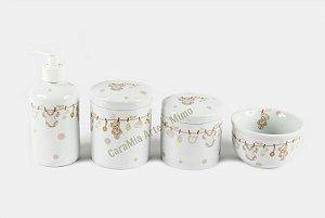 Kit Higiene Bebê Porcelana | 4 peças| Varalzinho Bege com Poá