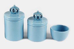 Kit Higiene Bebê em Cerâmica Azul Bebê com Aplique de Coroa Azul | 3 peças