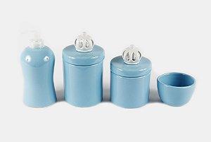 Kit Higiene Bebê Cerâmica | 4 peças| Azul bebê com Apliques de Coroas Branquinhas