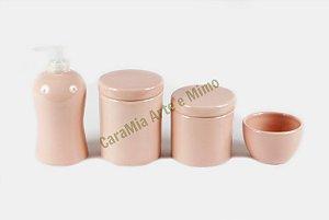 Kit Higiene Bebê Cerâmica | 4 peças| Rosa Antigo Liso