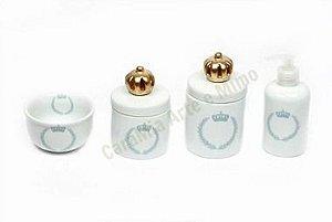 Kit Higiene Bebê |Coroa Brasão Azul com Aplique de Coroa Dourada | 4 Peças |