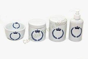 Kit Higiene Bebê Porcelana |Coroa Marinho Brasão Marinho | 4 Peças |