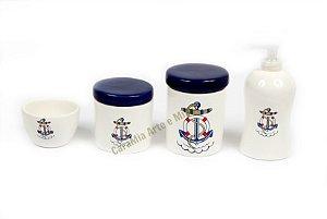 Kit Higiene Bebê Cerâmica | 4 peças| Meu Bebê Marinheiro
