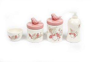 Kit Higiene Bebê Cerâmica | 4 peças| Pássaros Rosas