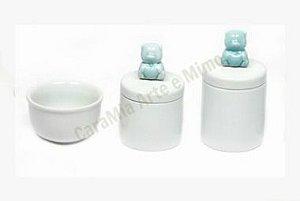Kit Higiene Bebê Porcelana| Urso Azul Antigo| 3 peças