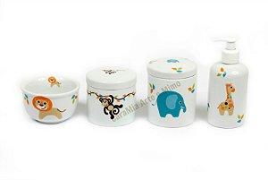 Kit Higiene Bebê Porcelana | Safari do Bebê| 4 peças