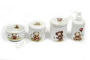 Kit Higiene Bebê Porcelana | Ursos Incríveis| 4 peças