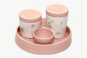 Kit Floral em Cerâmica Rosa Antigo com Bandeja