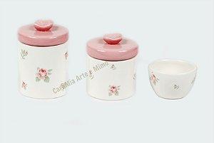 Kit Higiene Bebê Cerâmica Floral com Aplique de Rosas | 3 peças