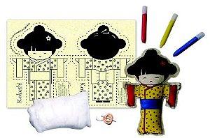 Boneca de pano para pintar - Kokeshi