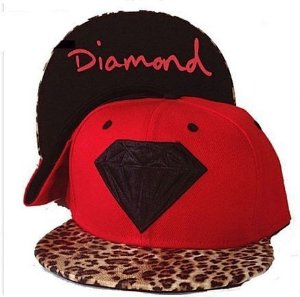 Boné Diamond Supply Leopard Vermelho
